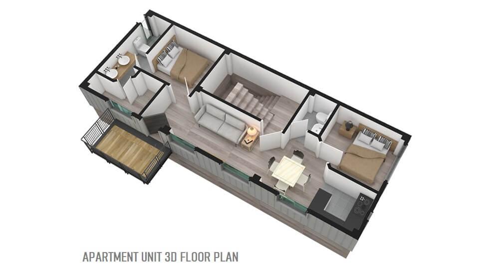 APARTMENT UNIT 3D FLOOR PLAN