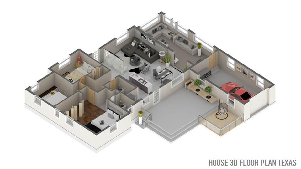 HOUSE 3D FLOOR PLAN TEXAS