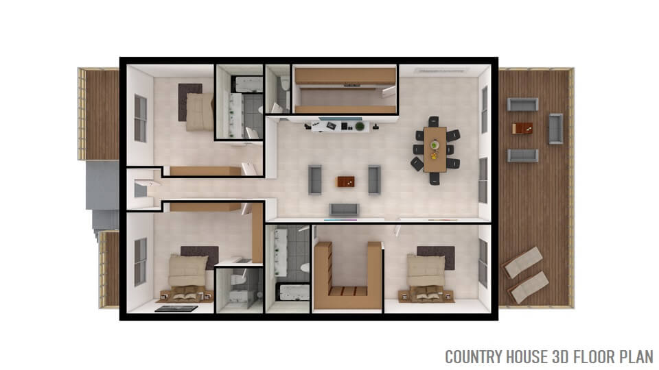 COUNTRY HOUSE 3D FLOOR PLAN