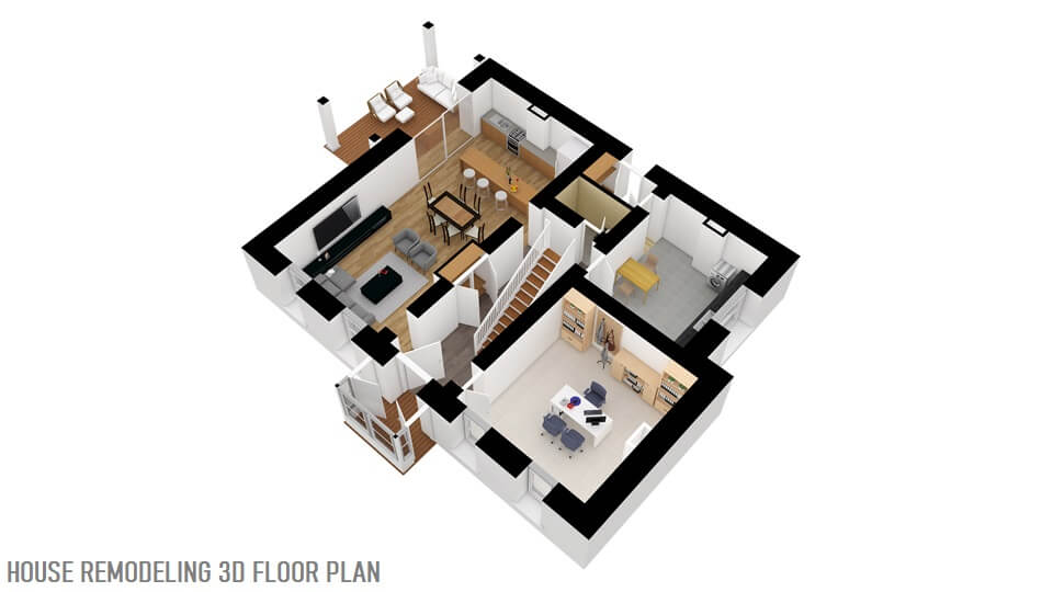 HOUSE REMODELING 3D FLOOR PLAN