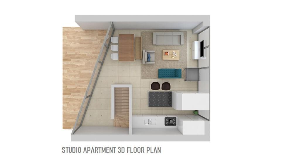 STUDIO APARTMENT 3D FLOOR PLAN