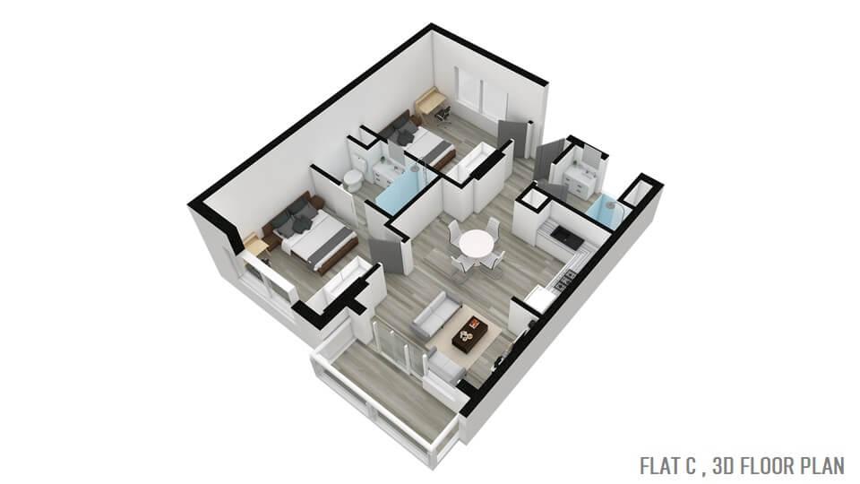 FLAT C , 3D FLOOR PLAN