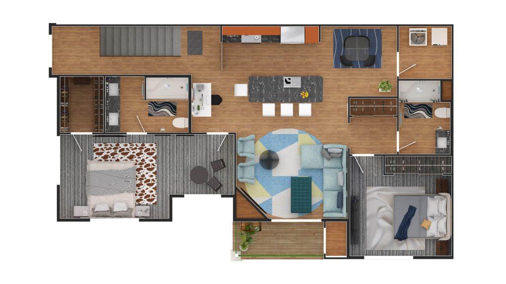 2D Color floorplan